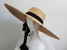 Miss Vacay womens Xlarge brim natural straw hat with black ties
