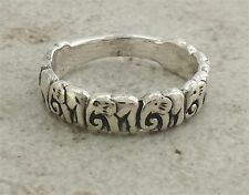 Ring size 9 style# r1814 Unique .925 Sterling Silver Elephant Band