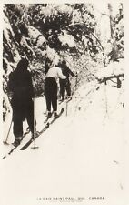 Cross Country Skiing BAIE ST-PAUL Quebec Canada 1924-49 CNR Real Photo Postcard