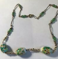 Lovely Vintage Art Deco Venetian Foiled Glass & Peking Glass Spacers Necklace