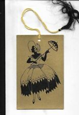 4 inch bridge tally card, cameo  art deco stylized southern belle in gold&black
