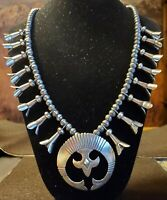 "Danny Clark 24"" Squash Blossom Necklace Navajo Pearl's  Patina Sterling Silver"