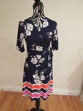 NWT.Vince Camuto multi floral wrapped /waist strip v-neck/short sleeves dress;8