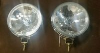 2 glass chrome round fog light vintage bmw tii alfa mini fiat saab holden mgb gt