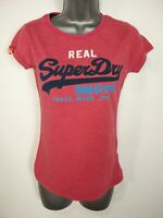 WOMENS VINTAGE SUPERDRY SMALL PINK SPELLOUT LOGO SHORT SLEEVE FITTED T-SHIRT TOP