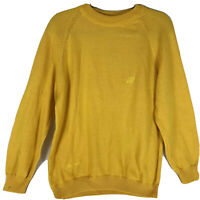 Bergati Men's Size Large Vintage Yellow Sweater Crew Neck Coogi Style Cosby