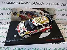 voiture 1/43 IXO Altaya Rallye Belgique : CITROËN DS3 WRC LOEB 2013 Monte Carlo