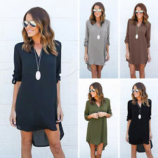 Clearance Women's Casual long Sleeve V-neck Irregular Hem Chiffon Shirt Dress