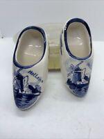 """Vintage Delft Hand Painted Porcelain Mini Dutch 3"""" Clogs Holland Windmill"""