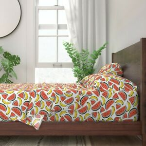 Watermelon + Banana Fruit Kitchen Home 100% Cotton Sateen Sheet Set by Roostery