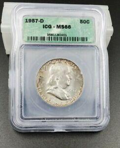 1957 D Franklin Silver Half Dollar Coin ICG MS66 Nice Strike Mint Set Toning