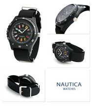 NEW NAUTICA SURFSIDE BLACK SILICONE BAND,INTERNATIONAL FLAGS WATCH-NAPSRF001