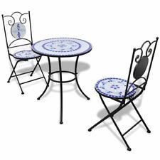 vidaXL Bistrotafel met 2 Stoelen Mozaïek Blauw/Wit Tuintafel Tuinstoel Tuin