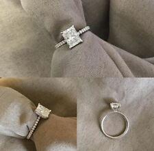 Engagement Ring 925 Sterling Silver 3Ct Radiant Cut White Forever Moissanite