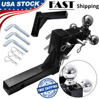 "3 Ball Adjustable Trailer Tow Drop Hitch Ball Mount Towing Truck 2"" Receiver"