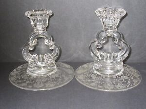 Pair of Rose Point Key Hole Candle Holders / Cambridge Glass Co