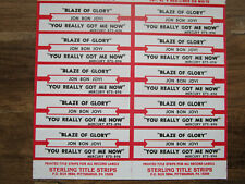 Jukebox Title Strip Full Sheet BON JOVI Blaze of Glory / You Really Got Me Now
