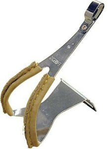 MKS Toe clips with leather, steel-med - pair