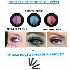 DUO FARD OMBRE A PAUPIERE PAILLETTE + DOUBLE PINCEAU NEUF MAC037