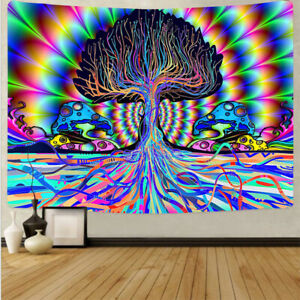 Trippy Mushroom Tapestry Psychedelic Wall Hanging Blanket Home Bedroom Decor