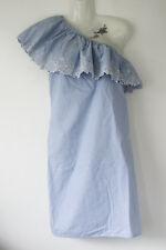 NEW LOOK pale blue + white stripe one shoulder dress + broderie lace ruffle 16