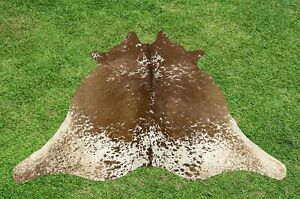 Small Cowhide Rugs Brown Real Hair on Cow Calf Hide Skin Accent Rug 4.5 x 4.5 ft