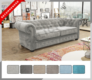 CHESTERFIELD Imperial 3+2 Sofa Set Suite 3 or 2 Seater Sofa Fabric Grey Ocean