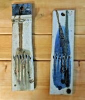 2 Michael Cohen Pottery Wall Hangers Weedholders French Beaded Flowers 1950s