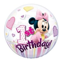 "1 X Disney Minnie Mouse 1st Birthday Qualatex Bubble Helium Balloon 22"" 12862"