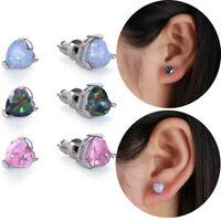 925 Silver Women Fire Opal Heart Ear Stud Earrings Engagement Jewelry Fashion