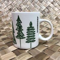 Starbucks Coffee Mug Cup Christmas Holiday 2015 12 oz Green & White Trees