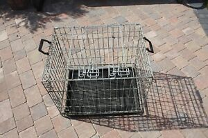GALVANISED DOG CRATE / CAGE / DEN- REMOVABLE PLASTIC TRAY / FOLDING / 2 DOOR £25
