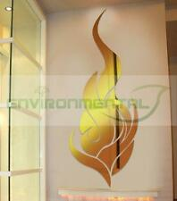Gold Fire Modern Top Acrylic Plastic Mirrors Wall Art Home Decal Decor Stickers