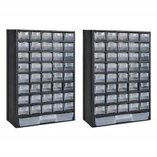 Plastic Tool Box 41 Drawer Storage Cabinet Workshop Garage Organiser 2 Pieces