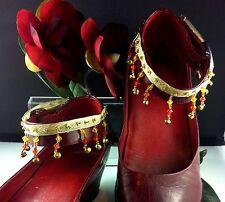 Anklet 1 Pair Aztec Braid Beads Bells Ring Adjustable Surf Gypsy Kuchi Originals