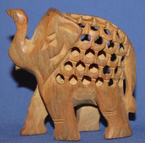 Vintage Small Hand Carving Wood Elephant Figurine