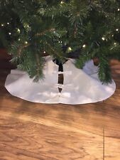 Cream Hessian Christmas Tree Skirt Country Rustic Natural Decoration