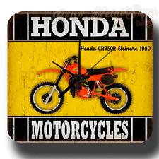 Honda CR250R Elsinore 1980 Moto Vintage rétro en métal étain signe Horloge Murale