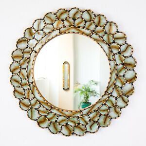 Peruvian Round Mirror 23.6in for wall decorative - Gold wood framed wall mirror