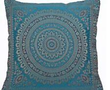 "Blue Indian Ethnic Mandala Silk Brocade Cushion Covers Handmade 15"" Zip Back"