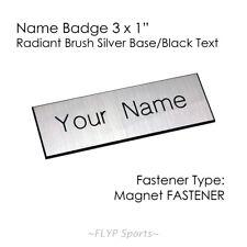 "Name Badge Tag Magnetic Silver/Black Personalised Engraved Customised 3x1"" Em..."