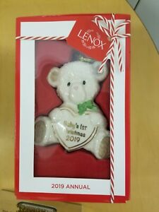 LENOX  $40 Porcelain Unisex 2019 Teddy Bear Baby's First Christmas Ornament NEW