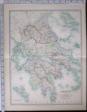 1904 LARGE MAP GREECE MOREA CYCLADES CORFU & PAXO MESSENIA LACONIA LARISSA