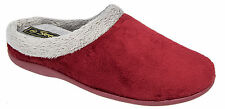 Womens Ladies Luxury Memory Foam Velour Mule Slippers Size UK 3 - 8 Red UK 5
