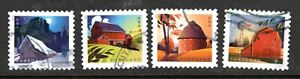 2021 Sc #5546-49 Postcard rate 36c Barns pane stamps 4 Used and off paper