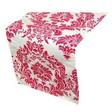 White and Fuschia Pink Flock Table Runners