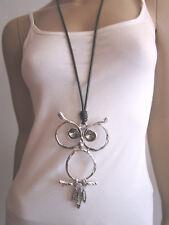 Lagenlook Modekette Damen Hals Kette Band lang Silber Schwarz XL Eule Kauz NEU
