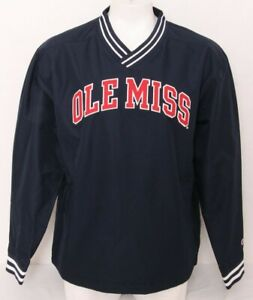 NEW Mississippi Ole Miss Rebels Champion Navy Lined Pullover Jacket Men's XL