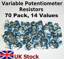 Trimming Variable Potentiometer Resistors 70 Pack, 14 values, Kit/Assortment/Mix