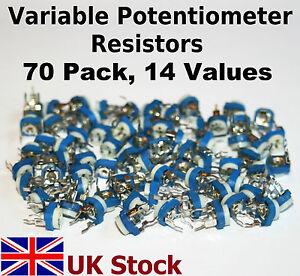 Trimming Variable Potentiometer Resistors 70 Pack, 14 values, Kit/Assortment/Mix